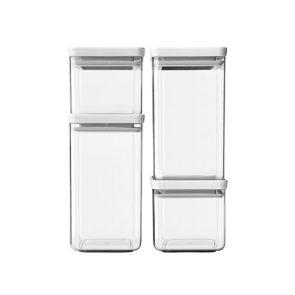 Brabantia 4pc Square Food Canister Light Grey