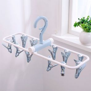 Clip & Drip Foldable Drying Hanger 12 Clips Blue Grey