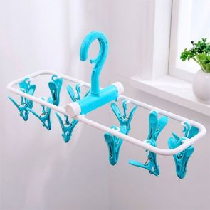Clip & Drip Foldable Drying Hanger 12 Clips Blue