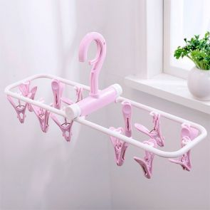 Clip & Drip Foldable Drying Hanger 12 Clips Purple