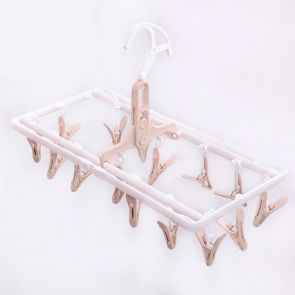 Clip & Drip Foldable Drying Hanger 16 Clips Taupe