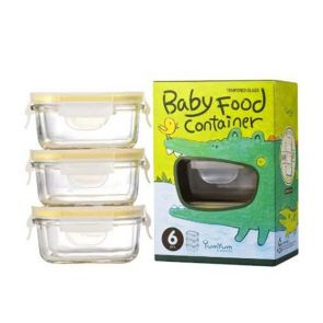 Glasslock 3 Piece Baby Food Rectangle Glass Container Set 150ml