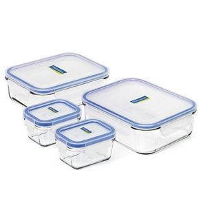Glasslock 4 Piece Tempered Glass Food Storage Container Set