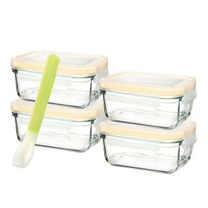 Glasslock 5 Piece Baby Food Rectangle Glass Container Set with Silicone Spoon 150ml