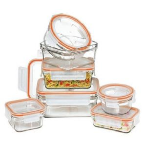 Glasslock 7 Piece Rimless Tempered Glass Food Container Set