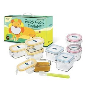 Glasslock 9 Piece Baby Food Glass Container Set with Silicone Spoon